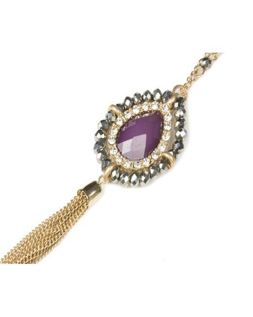 Oasis | Metallic Teardrop Tassel Necklace | Lyst