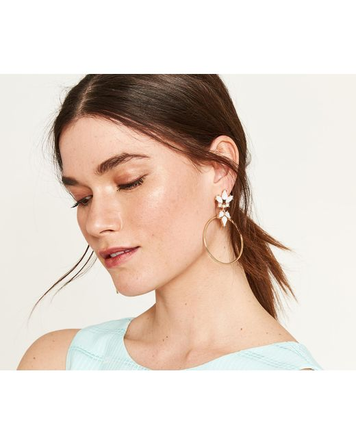 Oasis - Metallic Jewel Hoop Earrings - Lyst