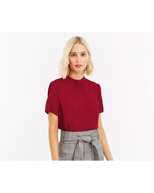Oasis - Red High Neck Tee - Lyst
