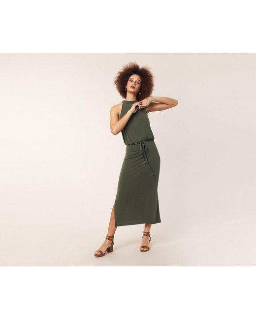 f95998fd8bdd Oasis - Green Halter Cupro Midi Dress - Lyst ...