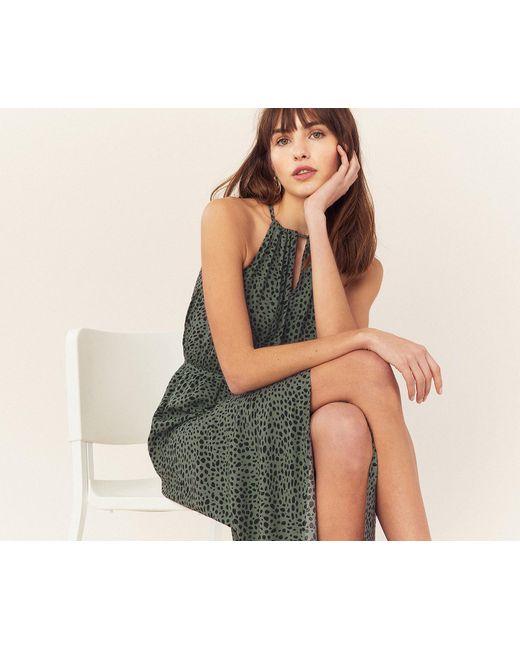 460b147a8856 ... Oasis - Green Animal Wrap Midi Dress - Lyst ...
