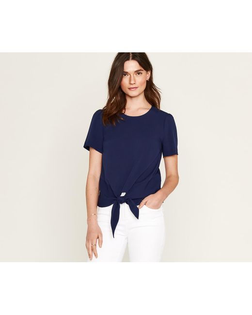 Oasis - Blue Tie Front Viscose Tee - Lyst