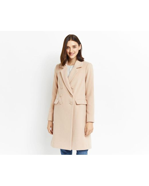 Oasis | Natural Clara Double Breasted Car Coat | Lyst