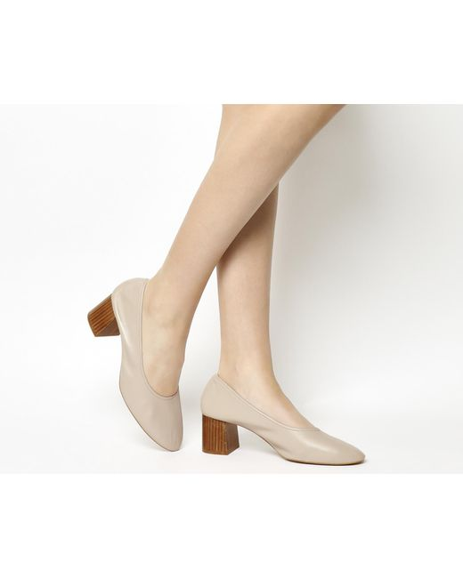 Office | Natural Mia Ballet Block Heels | Lyst