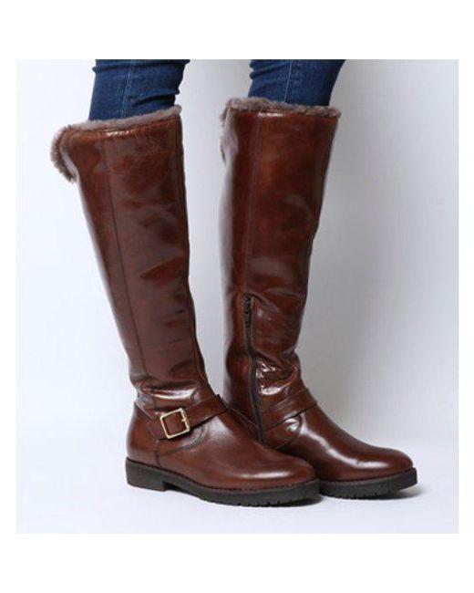 9485000616 Lyst - Office Keller- Casual Fur Knee Boot in Brown