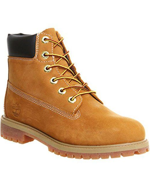 98c21c3129b Lyst - Timberland Juniors 6 Inch Premium Waterproof Boots in Brown