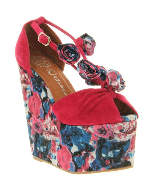 Jeffrey Campbell | Red Rosi Fab Wedge Sandal | Lyst