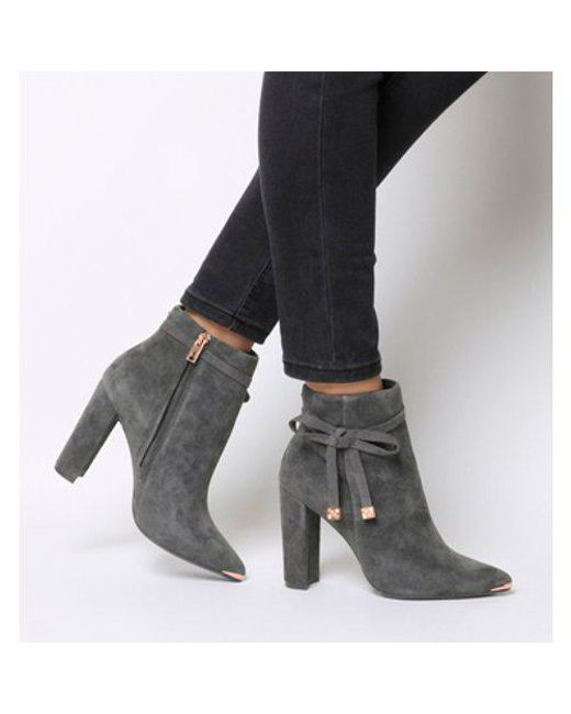 5be84fbbdc635 Lyst - Ted Baker Qatena Tie Block Heel Ankle Boots in Gray - Save 38%