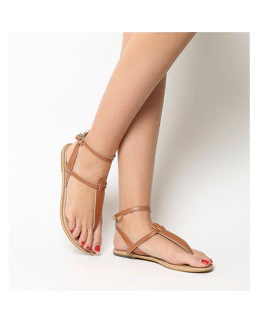Office - Brown Salsa Ankle Strap Toe Post - Lyst