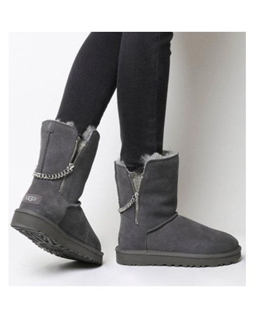 lyst ugg classic short sparkle zip exclusive in gray rh lyst com