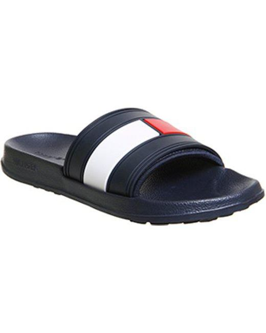 8382c3a6045a Tommy Hilfiger Flag Pool Slides in Blue for Men - Lyst
