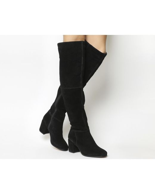 Office   Black Know It All Block Heel Knee Boots   Lyst