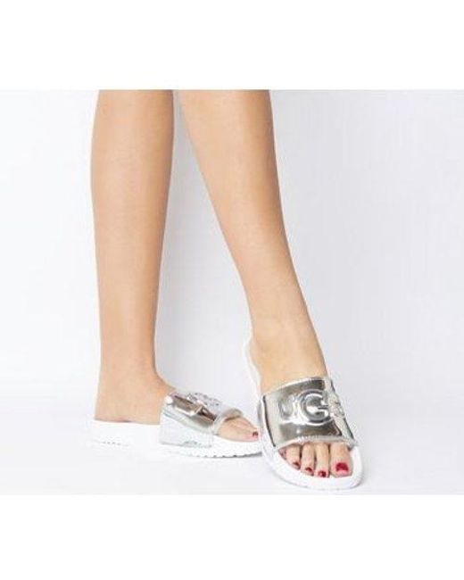 dd3264ce3 UGG Royale Graphic Metallic Slide in White - Lyst