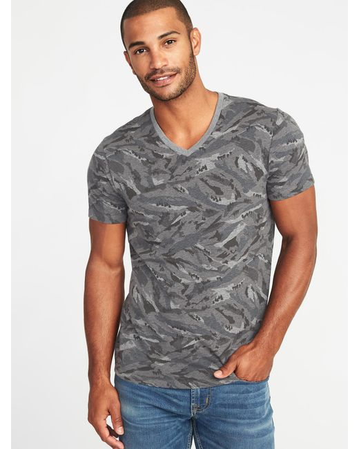 Old Navy - Gray Soft-washed Printed Perfect-fit V-neck Tee for Men - Lyst