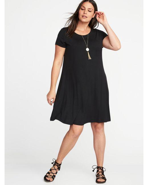 Lyst Old Navy Short Sleeve Plus Size Jersey Knit Swing Dress In Black