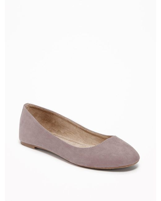 Old Navy - Brown Faux-suede Ballet Flats - Lyst