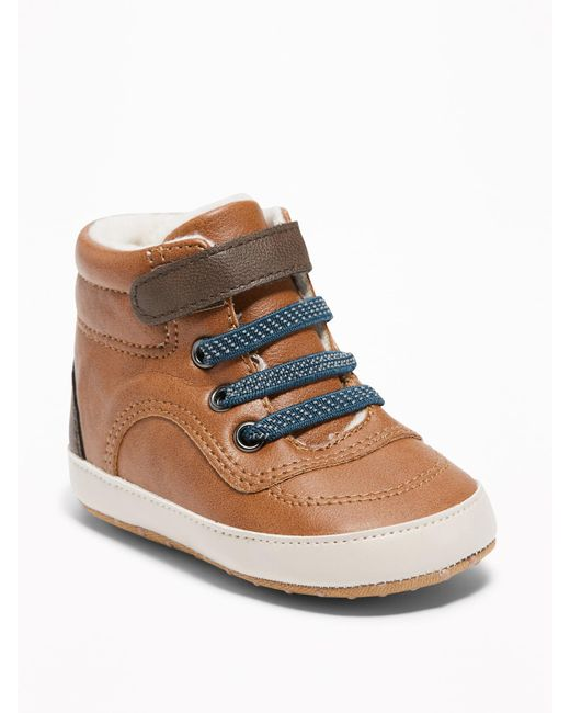 Old Navy - Brown Sherpa-lined Faux-leather Sneakers for Men - Lyst