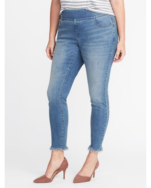 b8b2bcefe90e3 Lyst - Old Navy Mid-rise Plus-size Raw-edge Rockstar Jeggings in Blue