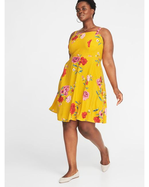 Lyst Old Navy Floral Print Fit Flare Plus Size Cami Dress In Yellow