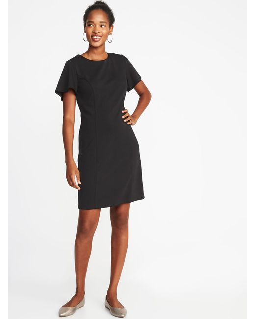 597d2cbdc71d Lyst - Old Navy Ponte-knit Flutter-sleeve Sheath Dress in Black