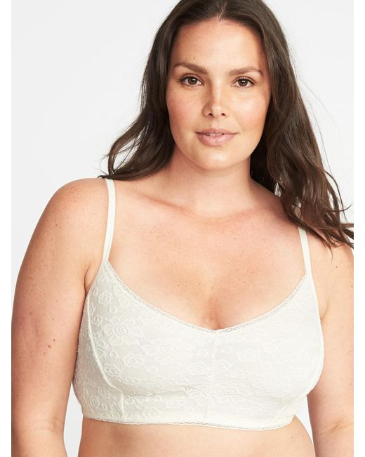 Old Navy - Natural Plus-size Lace Cami Bralette - Lyst