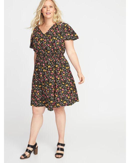 Lyst Old Navy Waist Defined Plus Size V Neck Dress In Black