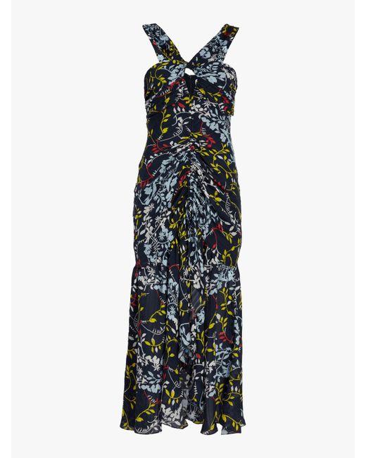 Tanya Taylor - Blue Sancia Floral Vines Print Dress - Lyst