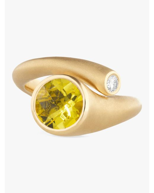 Carelle - Whirl Yellow Beryl And Diamond Ring - Lyst