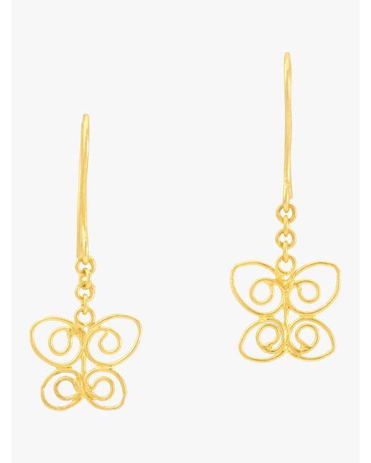 Pippa Small - Metallic Burmese Butterfly Earrings - Lyst
