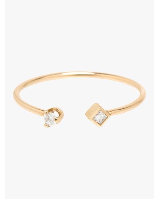 Zoe Chicco - Metallic Paris Princess Diamond Contrarie Ring - Lyst