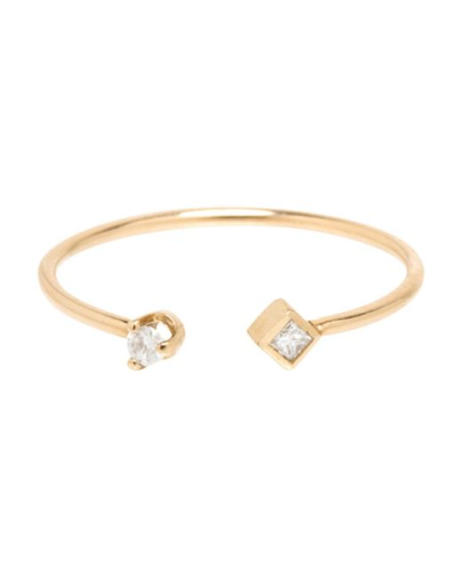Zoe Chicco - Metallic Paris Princess Diamond Contrarie Ring - Lyst