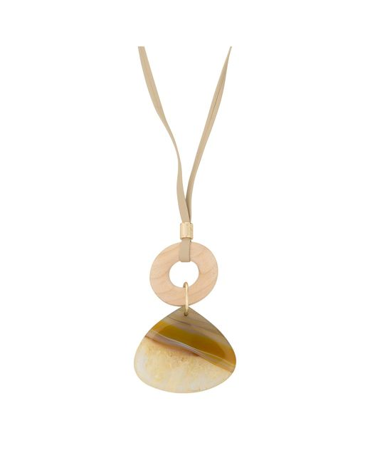Oliver Bonas - Brown Lenten Wood & Stone Pendant Necklace - Lyst