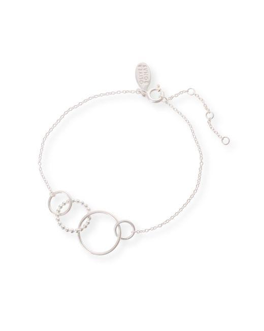 Oliver Bonas - Metallic Oyo Triple Ring Silver Bracelet - Lyst