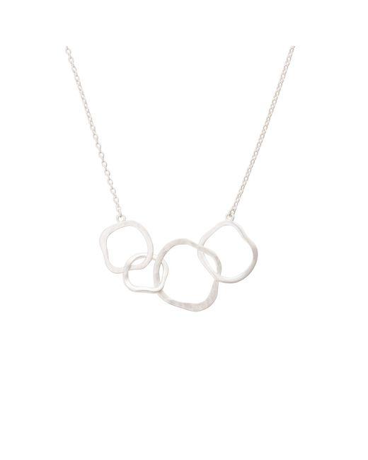 Oliver Bonas - Metallic Ellie Textured Organic Rings Silver Necklace - Lyst