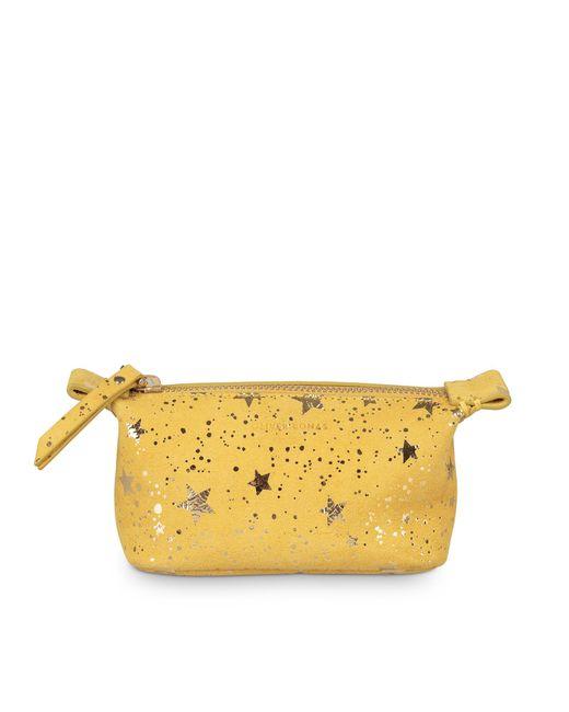 Oliver Bonas Metallic Zoya Star Print Yellow Leather Make Up Bag Mini