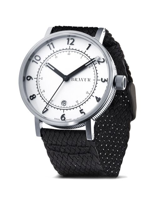bravur bw001 silver braided strap watch in silver for men lyst. Black Bedroom Furniture Sets. Home Design Ideas