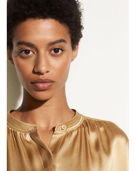 Vince - Multicolor Shirred Neck Silk Pullover - Lyst