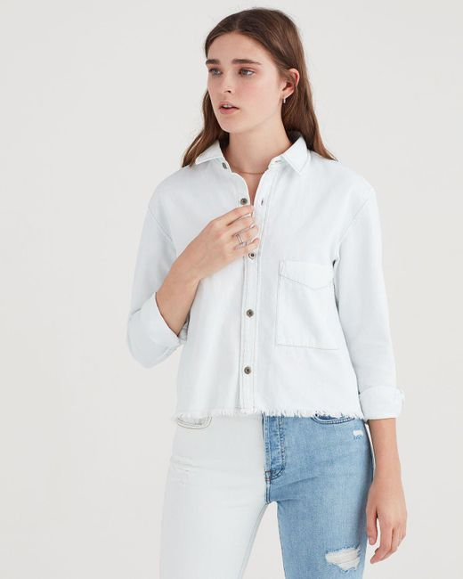 e154956686 7 For All Mankind - White Cropped Cut Off Denim Shirt - Lyst ...