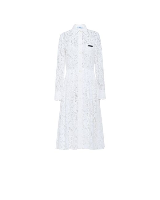 Prada White Lace Dress With Scroll Motif