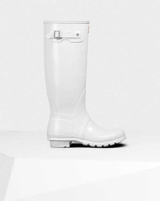 8f27e1da8258 Lyst - HUNTER Women s Original Tall Gloss Rain Boots in White