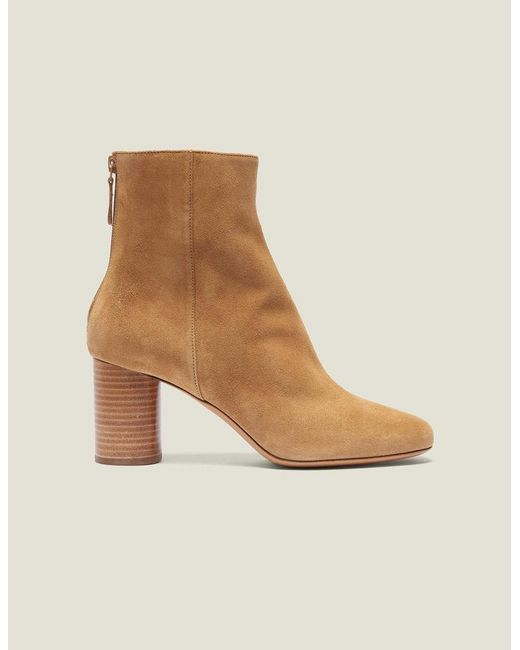 49c9ae6fda713 Sandro - Brown Split Leather Ankle Boots - Lyst ...