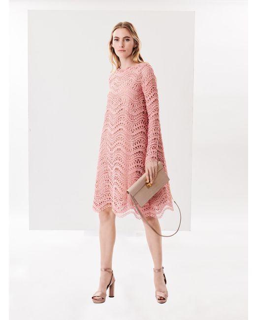 Oscar de la Renta - Pink Wave Guipure Lace Cocoon Cocktail Dress - Lyst