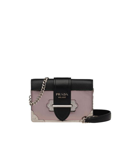 20b5cadfb451 Prada - Black Cahier Leather Shoulder Bag - Lyst ...