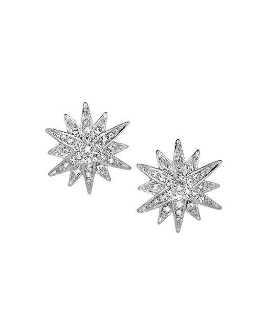Kenneth Jay Lane - Metallic Silver Crystal Starburst Pierced Or Clip Earrings - Lyst