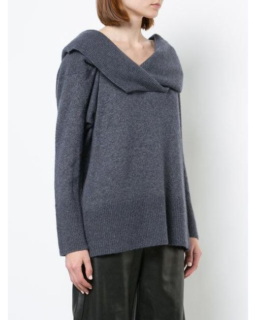 Lyst Adam Lippes Brushed Cashmere Off The Shoulder V Neck Sweater