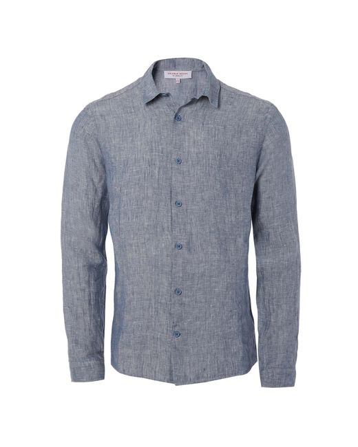 Orlebar Brown | Blue Morton Long-sleeved Linen Shirt for Men | Lyst