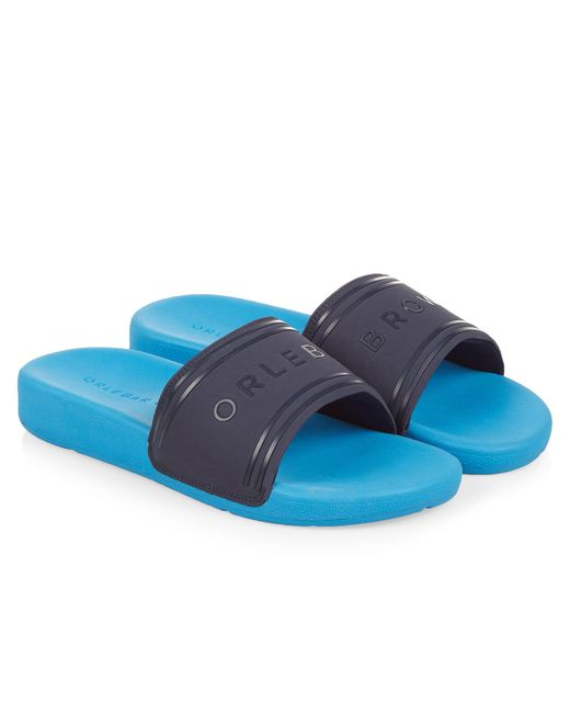 Orlebar Brown - Blue Haddon Navy Logo Slide Sandals for Men - Lyst