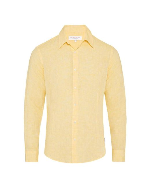 Orlebar Brown - Morton Leinenhemd Mit Körperbetonter Passform In Toucan Yellow for Men - Lyst