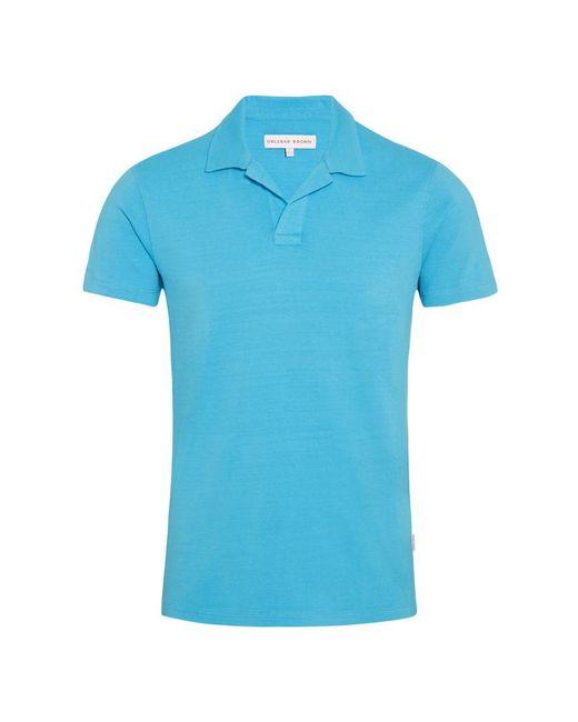 Orlebar Brown - Blue Felix Slub Light Azure Resort Polo for Men - Lyst