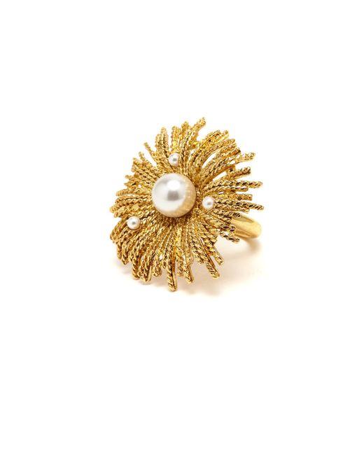 Oscar de la Renta - Metallic Gold Pearl Burst Ring - Lyst